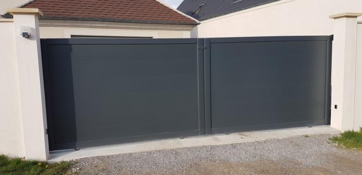 Portail Aluminium coulissant 2 vantaux, Compiegne